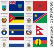 world flags of Montserrat, Morocco, Mozambique, Namibia, Nauru, Nepal, Netherlands and New Caledonia, with capitals, geographic coordinates and coat of arms, vector art illustration - stock photo