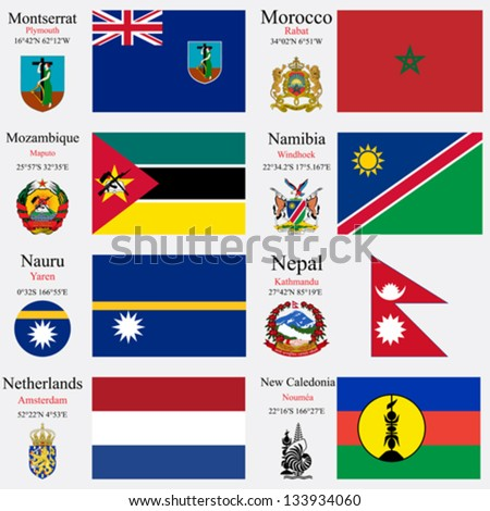 world flags of Montserrat, Morocco, Mozambique, Namibia, Nauru, Nepal, Netherlands and New Caledonia, with capitals, geographic coordinates and coat of arms, vector art illustration - stock vector