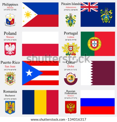 world flags of Philippines, Pitcairn Islands, Poland, Portugal, Puerto Rico, Qatar, Romania and Russian Federation, with capitals, geographic coordinates and coat of arms, vector art illustration