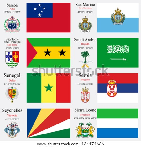 world flags of Samoa, San Marino, Sao Tome and Principe, Saudi Arabia, Senegal, Serbia, Seychelles and Sierra Leone, with capitals, geographic coordinates and coat of arms, vector art illustration