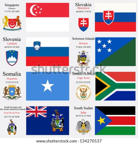 world flags of Singapore, Slovakia, Slovenia, Solomon Islands, Somalia, South Africa, South Georgia and the South Sandwich Islands and South Sudan, capitals, gps and coat of arms, art illustration