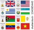 world flags of United Kingdom, United States of America, Uruguay, Uzbekistan, Vanuatu, Vatican City, Venezuela and Vietnam, with capitals, geographic coordinates and coat of arms, art illustration - stock photo