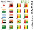 World Flags - Pack 3 Vector - stock photo