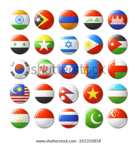 World flags round badges. Asia. Vector illustration. - stock vector