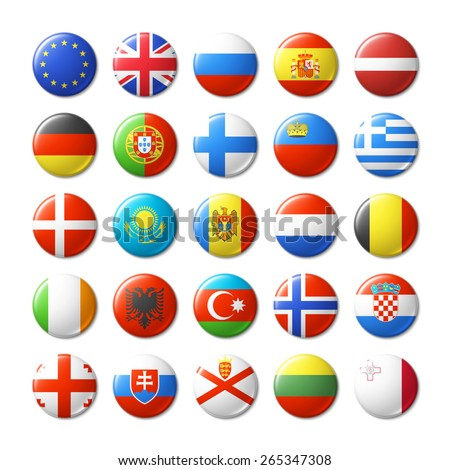 World flags round badges, magnets. Europe. Vector illustration. - stock vector
