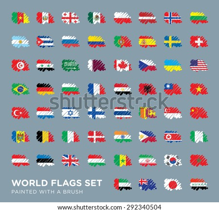 World Flags Set Painted with a Brush - stock vector