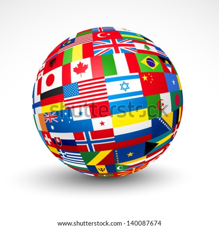 World flags sphere. Vector illustration - stock vector