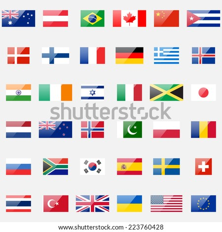 World flags vector collection. 36 detailed glossy icons. Correct proportions and color scheme. - stock vector