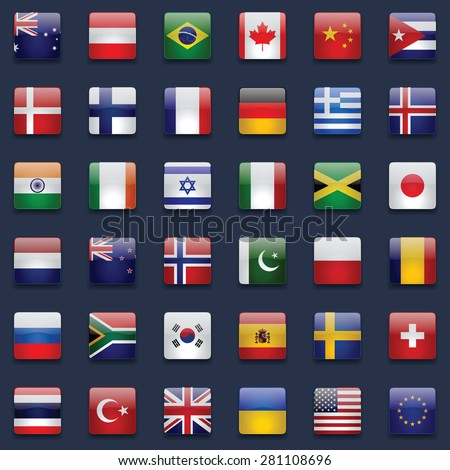 36 High Quality Square Glossy Icons Correct Color Scheme