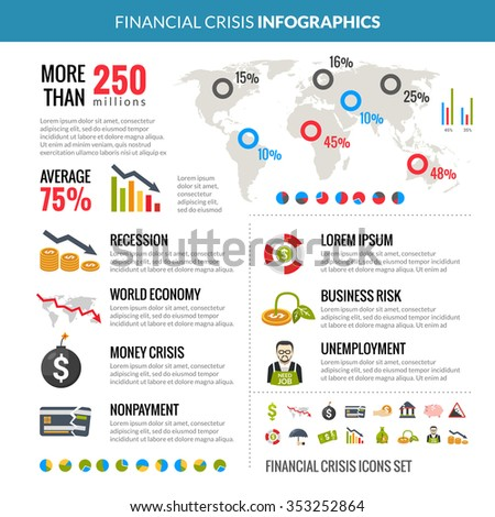 World global financial crisis and business risk reduction in recession statistic analysis with diagrams infographics layout vector illustration  - stock vector
