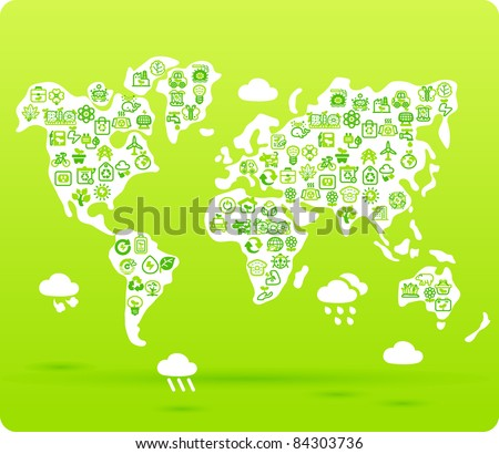 world ,global symbol made from small eco,bio,natural icons - stock vector