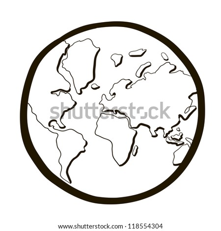 world globe.  A cartoon sketch. - stock vector