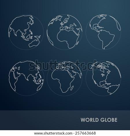 World Globe Detail line symbol Vector Illustration - stock vector