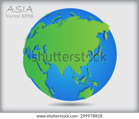 World globe.Earth globe icon with map of Asia.Vector illustration.