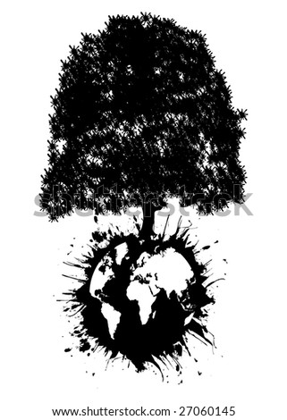 World globe exploding with giant tree - stock vector