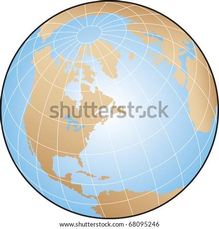 World globe focusing on north america - stock vector