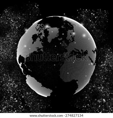 World globe, global network. Molecule structure, black background for communication, science vector illustration. - stock vector
