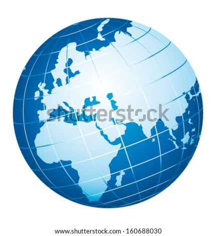 World globe icon. Europe, Africa and Russia view. Vector icon. - stock vector