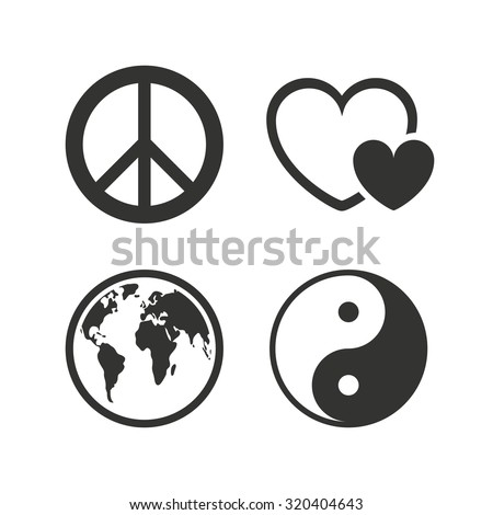 World Globe Icon Ying Yang Sign Stock Vector 320404643 Shutterstock