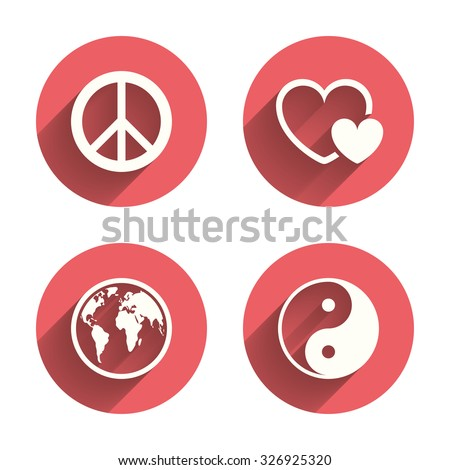 World globe icon. Ying yang sign. Hearts love sign. Peace hope. Harmony and balance symbol. Pink circles flat buttons with shadow. Vector - stock vector