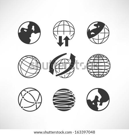 world globe icons set - stock vector
