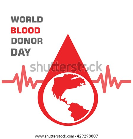 World globe in blood drop ecg in background. 14th June World Blood Donor Day template