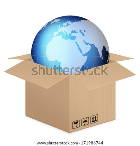 world globe in box on a white background.