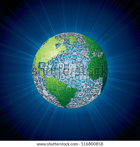 World Globe made with Social Media Icons. Vector Background - stock vector