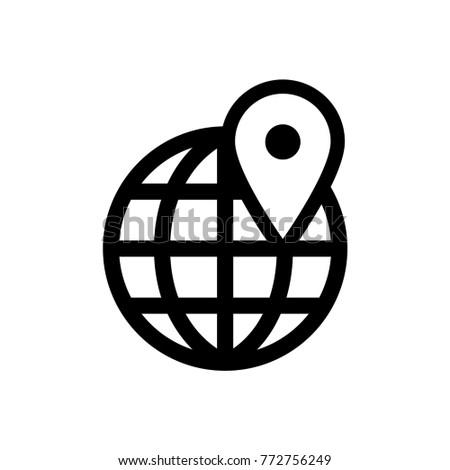 World globe map positioning pin app stock vector 2018 772756249 world globe map positioning pin app vector icon logo gumiabroncs Choice Image
