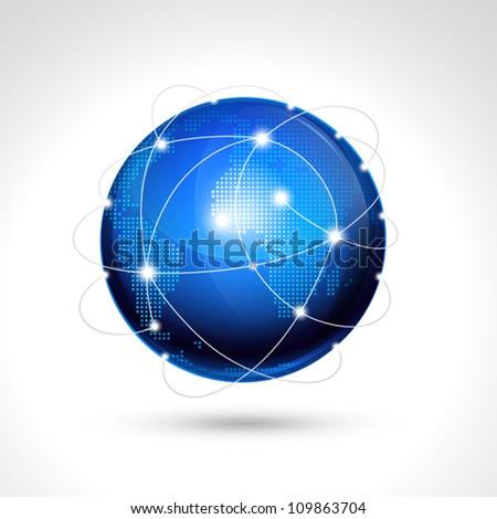 World globe, network icon. - stock vector