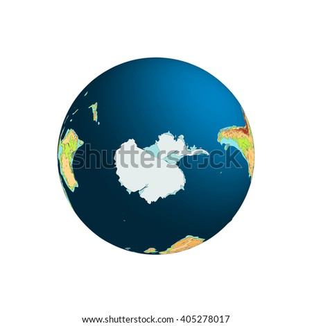 World Globe. Planet Earth. Antarctica. South Pole. Vector illustration. Isolated on white