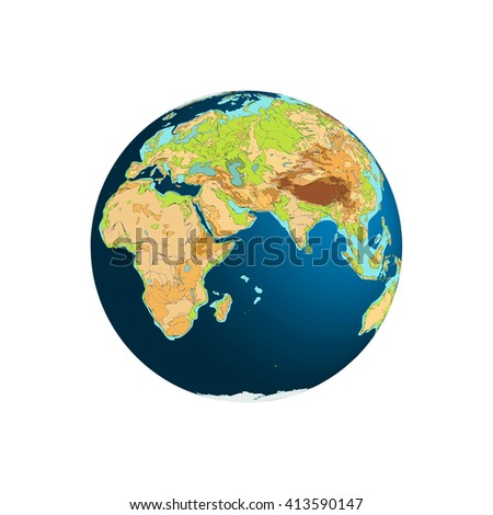 World Globe. Planet Earth. Eastern hemispheres. Africa and Eurasia. Vector illustration. Isolated on white