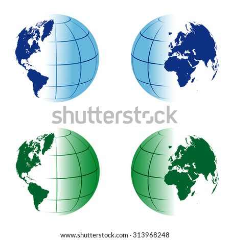 world globe sectioned