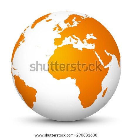 World Globe vector Icon - Fresh orange colour with smooth shadows. Earth, Planet, Sphere. - stock vector