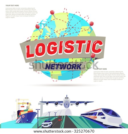 world globe with connections line. transportation and logistics -worldwide delivery business concept - vector illustration - stock vector