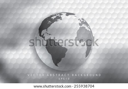 World globe with hexagon patter vector illustration. - stock vector