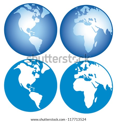 world globes icons showing earth with all continents - stock vector