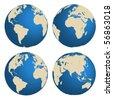 World globes - vector - stock vector