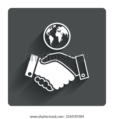World handshake sign icon. Amicable agreement. Successful business with globe symbol. Gray flat square button with shadow. Modern UI website navigation. Vector - stock vector