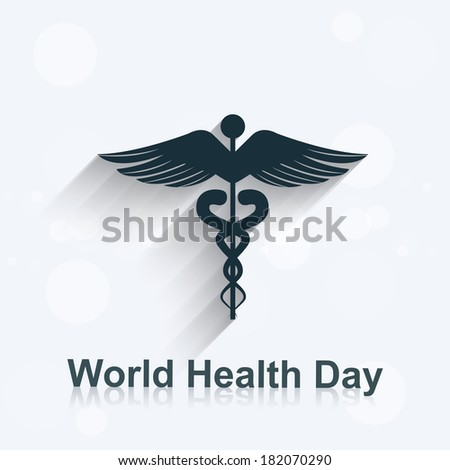 World health day concept medical background on caduceus medical symbol illustration vector - stock vector