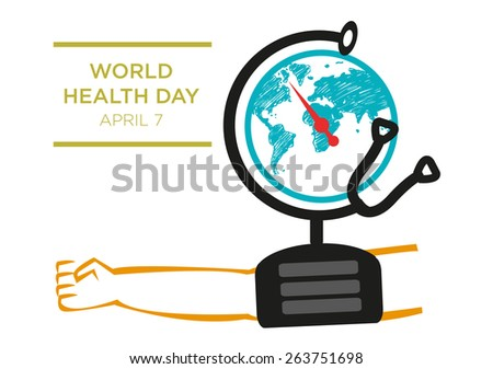 World Health Day Concept Poster. Stethoscope as a Globe with High Blood Pressure taken to symbolize healthcare checking and maintenance. Editable EPS10 Vector and large jpg. - stock vector