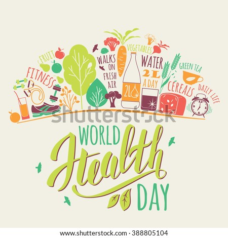 World health day concept with healty lifestyle background. Vector illustration. - stock vector
