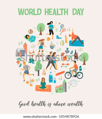World Health Day Healthy Lifestyle Roller Skates Running Bicycle Walk