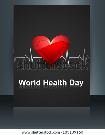 World health day template brochure with heart beats medical colorful reflection background