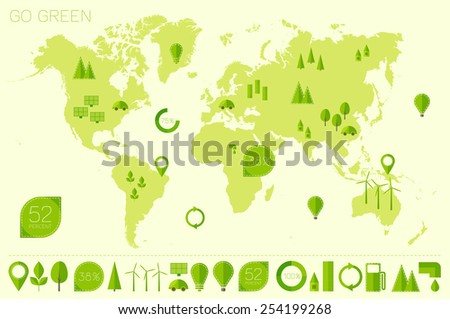 World high detailed map with set of info graphics ecology (eco) elements and icons, flat trendy vector illustration.