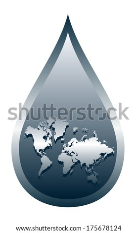 world in a drop of water - stock vector