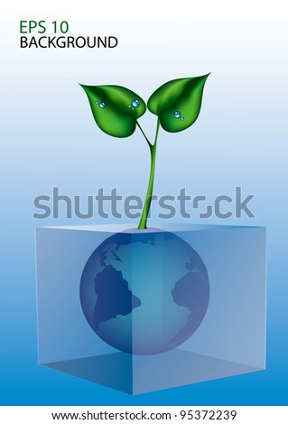 world in glass cube with leave eps 10 - stock vector