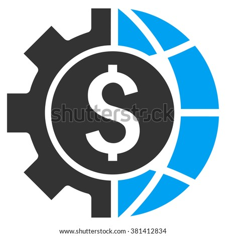 World Industry Finances vector icon. Style is bicolor flat symbol, blue and gray colors, white background. - stock vector