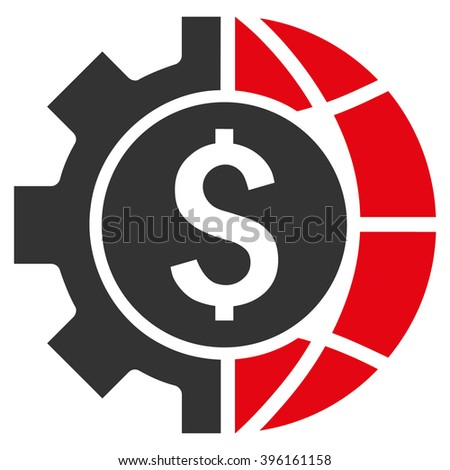 World Industry Finances vector icon. Style is flat symbol, red color, white background. - stock vector