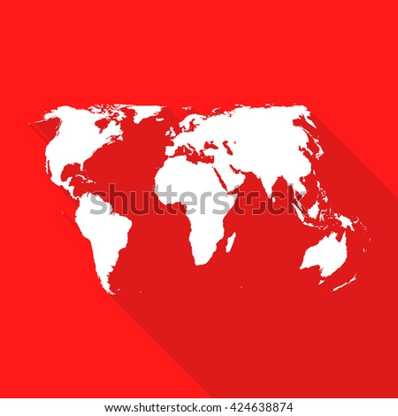 World,international map flat simple style with long shadow on red background. - stock vector